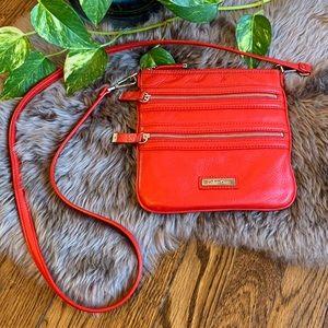 Calvin Klein Red Leather Zipper Crossbody Bag